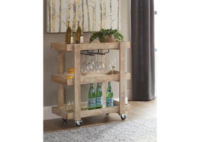 Sandblasted White Serving Cart