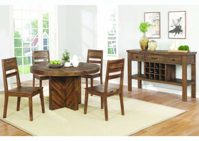Varied Natural Round Dining Table w/4 Side Chairs