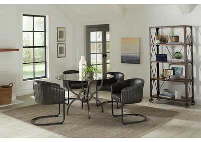 Aviano Gunmetal & Matte Black 5 Piece Dining Set