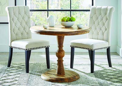 Natural Round Top Dining Table