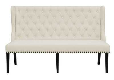 Beige Upholstered Dining Bench