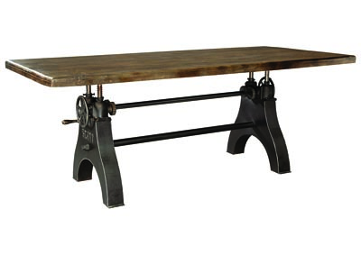 Brown Wood Rectangular Dining Table w/Adjustable Height