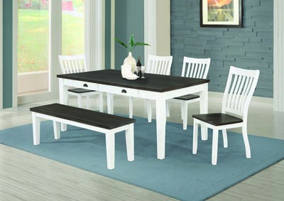 Kingman Espresso & White 5 Piece Rectangular Dining Set