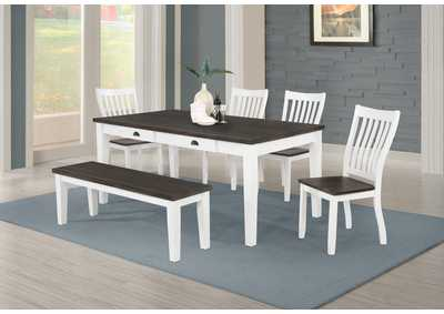 Kingman Espresso & White 6 Piece Rectangular Dining Set