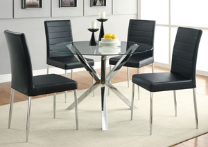Glass Top Dining Table w/4 Black & Chrome Chairs