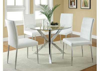 White & Chrome Chair (Set of 4)