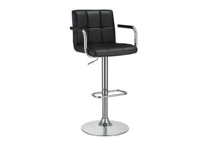 Black and Chrome Adjustable Bar Stool w/Arms