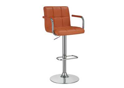 Image for Paarl Contemporary Pumpkin and Chrome Adjustable Bar Stool W/ Arms