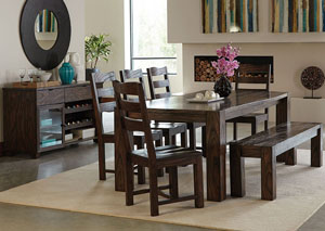 Dark Brown Dining Table w/4 Side Chairs & Bench