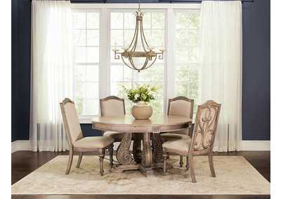 Antique Linen Round Dining Table
