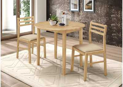 Natural and Beige Three-Piece Dining Set