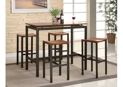 Image for Grain Brown Atlas Birch Veneer and Black Five-Piece Dining Set
