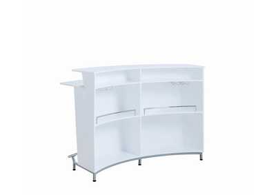 White Bar Unit w/Stemware Racks