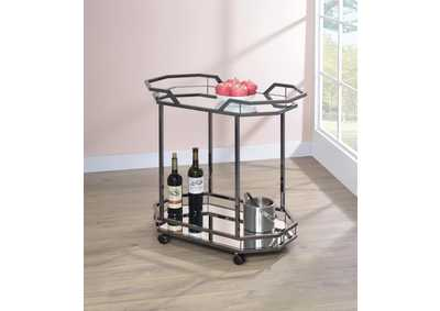 Black Nickel and Mirror Serving Cart