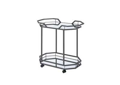Image for Mirror Traditional Black Nickel Serving Cart