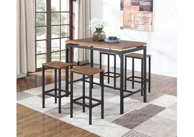 Image for Weathered Chestnut Contemporary Five-Piece Bar Set