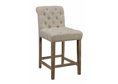 Beige & Pine Upholstered Counter Height Stool (Pack of 2)