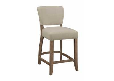 Beige & Pine Upholstered Counter Height Stool (2-Pack)