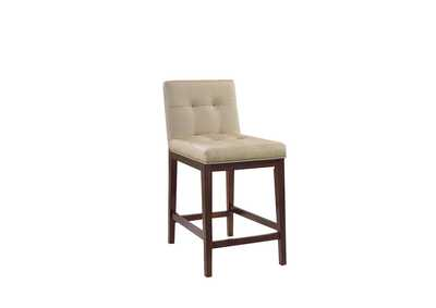 Beige Upholstered Counter Height Stool (Set of 2)