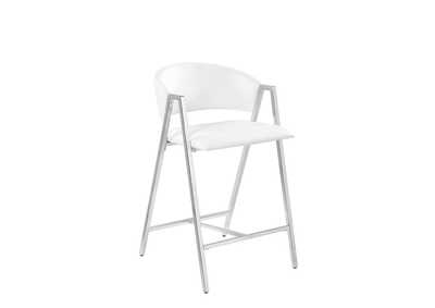 White and Chrome Counter Stool (Set of 2)
