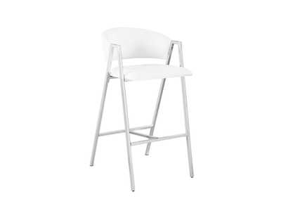 White and Chrome Bar Stool (Set of 2)