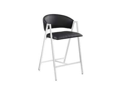 Black and Chrome Counter Stool (Set of 2)
