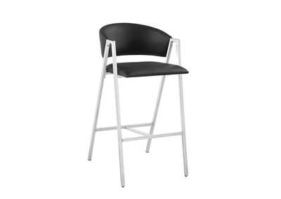 Black and Chrome Bar Stool (Set of 2)