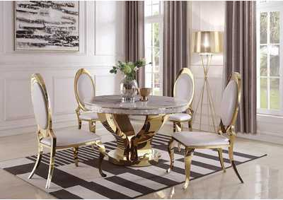 Kendall Gold Round Ivory-Top Dining Table w/4 Dining Chairs