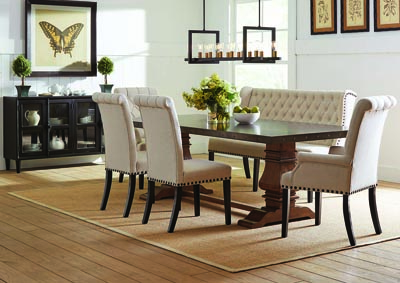 Beige Upholstered Dining Bench,Coaster Furniture