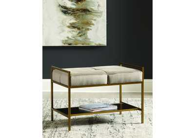 Gray/Gold Upholstered Bench