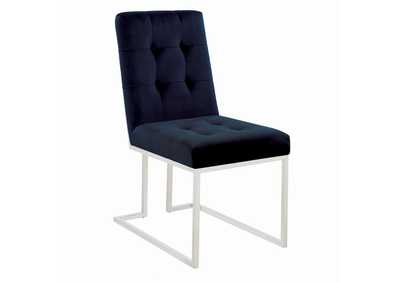 Image for Dark Blue Upholstered Dining Chairs [Set of 2]