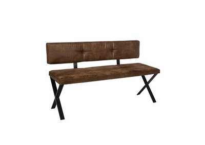 Sherman Antique Brown & Matte Black Upholstered Dining Bench