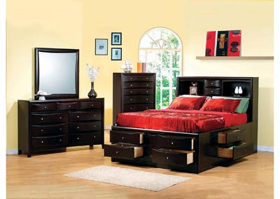 Phoenix Cappuccino Eastern King Storage Bed