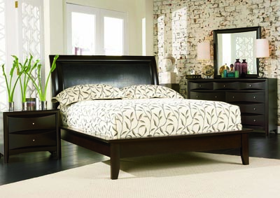 Phoenix Cappuccino Platform King Bed w/Dresser, Mirror & Chest