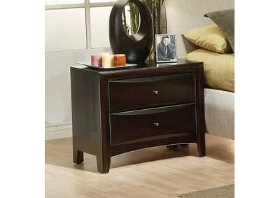 Phoenix Cappuccino Nightstand,Coaster Furniture