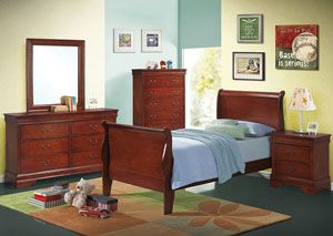 Image for Louis Philippe Red Brown Twin Sleigh Bed
