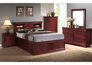Louis Philippe Cherry Queen Storage Bed w/Dresser, Mirror, Chest & Nightstand