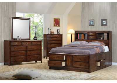 Hillary Walnut Storage Eastern King Bed