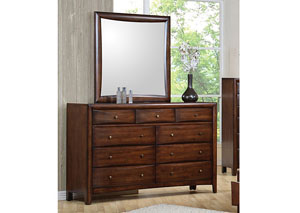 Image for Hillary Walnut Dresser w/Mirror