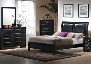Briana Black Queen Bed w/Dresser, Mirror, Chest & Nightstand