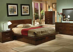 Jessica Cappuccino Queen Bed w/Dresser, Mirror & Chest