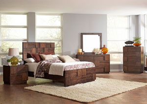 Gallagher Golden Brown California King Bed w/Dresser, Mirror, Drawer Chest and Nightstand