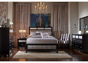 Barzini Black California King Bed w/Dresser, Mirror, Drawer Chest and Nightstand