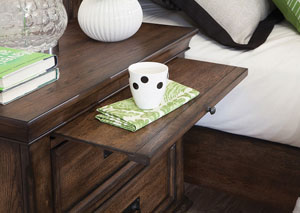 Image for Burnished Oak Franco Two-Drawer Nightstand W/ Tray