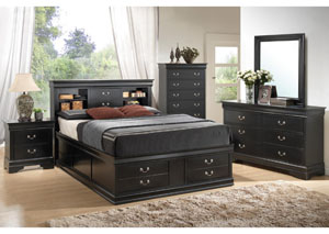Louis Philippe Black Queen Storage Bed w/Dresser, Mirror, Chest & Nightstand
