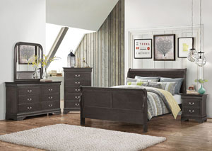 Dark Grey Full Bed w/Dresser, Mirror and Chest