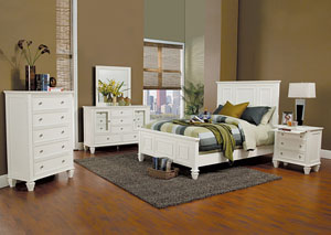 Sandy Beach White Eastern King Bed w/Dresser, Mirror, Chest and Nightstand