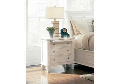 Sandy Beach White Three-Drawer Nightstand