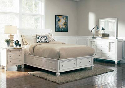 Sandy Beach White California King Storage Bed