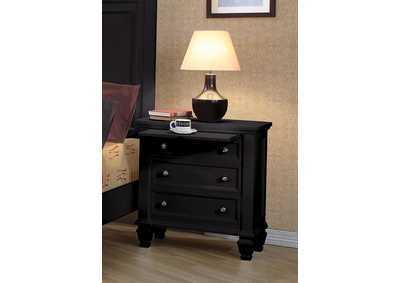 Sandy Beach Black Three-Drawer Nightstand